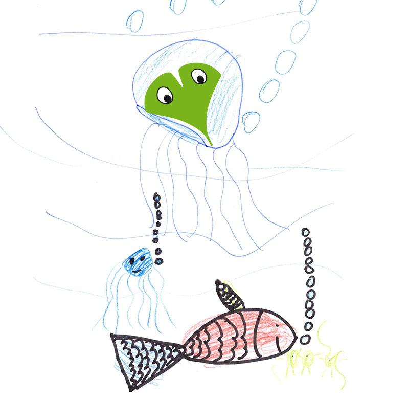 Qualle und Fisch – Marie, 7 Jahre